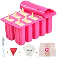 Popsicle Molds Shape Maker,10pcs Homemade ICE Pop Molds Food Grade Silicone BPA-Free Popsicle Moulds with 50 Popsicle…