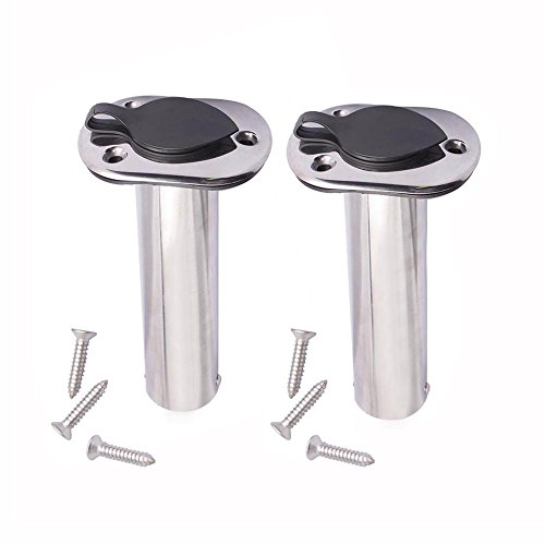 2PCS Flush Mounting Fishing Rod Holders - 90 Degree Stainless Steel with Rubber Cap, Liner and Gasket (Screws Included)