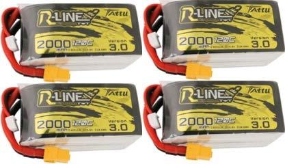 【4個セット】Tattu R-Line Version 3.0 4S 2000mAh 120C 14.8V LiPo バッテリーパック for FPVレースドローン B07RNK1KYB