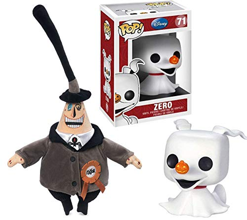 The Mayor NBX Nightmare #71 Before Christmas Zero Vinyl Pop! Ghost Dog Bundled with Plush Two Face Mayor Soft Character Pack Collectible 2 Item Set ()