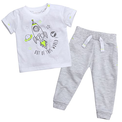 Babytown Newborn Baby Boys Space Themed Outfit - T Shirt & Jogging Pants Set -