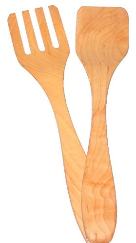 11'' Salad Servers (Fork & Paddle) - Maple by Brentwood Mills