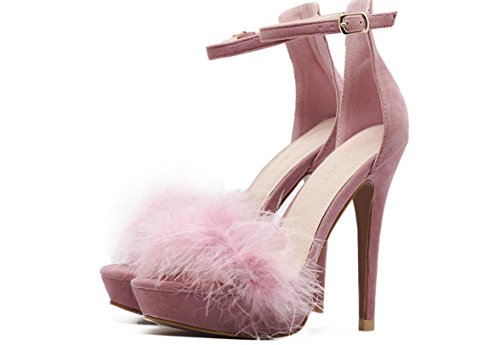 YCMDM DONNE tacco alto Shoe2017 nuovi tacchi alti ultra sottili scarpe di piume impermeabili sandali sexy scarpe singolo , pink (usa) , 5