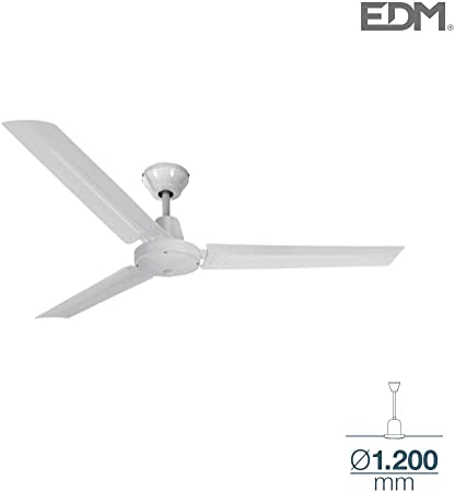 Ventilador de techo industrial mini blanco sin luz 55W 120cm EDM 33982: Amazon.es: Hogar
