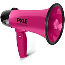 Portable Megaphone Speaker Siren Bullhorn - Compact and Battery Operated with 20 Watt Power, Microphone, 2 Modes, PA Sound and Foldable Handle- Pyle PMP24PK (Pink) (Renewed)