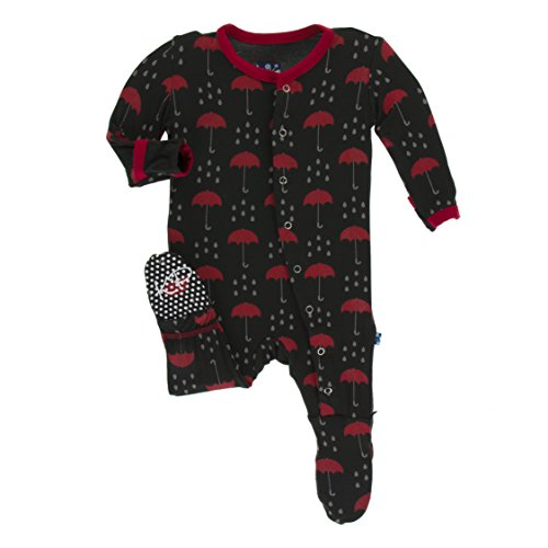 - Kickee Pants Little Boys Print Footie with Snaps - Umbrellas and Rain Clouds, 9-12 Months