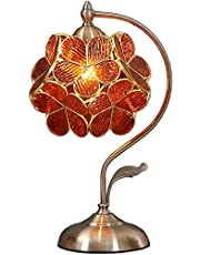 Bieye Flower Petal Tiffany Style Stained Glass Table Lamp Night with 8 inches Wide Lampshade for Bedside Bedroom Living Room