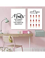 Muur Canvas Schilderij Nail Citaat Print Nageltypes Manicure Make-up Poster Manicure Gift Nagel Schoonheid Meisjes Kamer Decor 30x40cmx2Pcs Frameless
