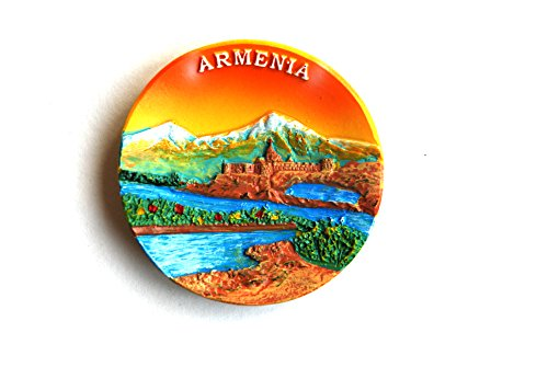 Hand Painted Wood Refrigerator Fridge (Armenian Souvenir Fridge Magnets (Armenia round))