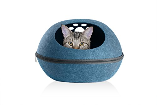 FurHaven Pet Cat Furniture | Paw Print Cutout Felt Oval Pet Bed for Cats & Small Dogs, Heather Lagoon, Small | One ()
