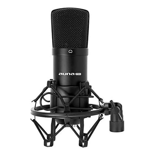 chollos oferta descuentos barato Auna CM001B Micrófono de condensador para estudio profesional cuerpo de latón resistente salida XLR y Shockmount color negro