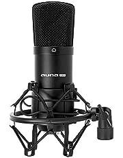 Auna CM001B studiomicrofoon cardioïde condensatormicrofoon (XLR, incl. Microfoonspin, windkap en beschermhoes) zwart