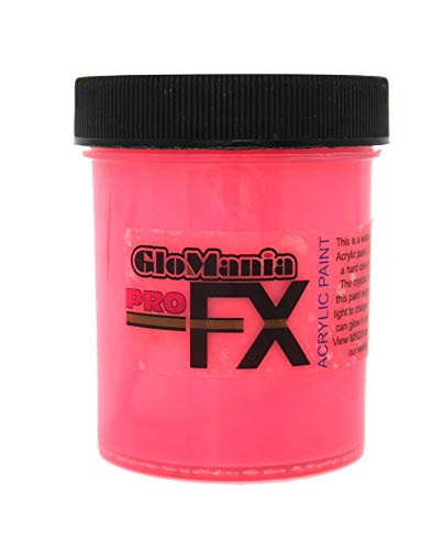 Glow in The Dark Paint, Daytime Visible and UV Reactive Luminous Glowing ProFX Red 1 -