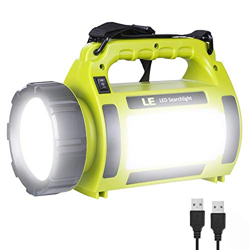 - LE Rechargeable LED Camping Lantern, 1000LM, 5 Light Modes, 3600mAh Power Bank, IPX4 Waterproof, Perfect Lantern Flashlight for Hurricane Emergency, Hiking, Home and More, USB Cable Included