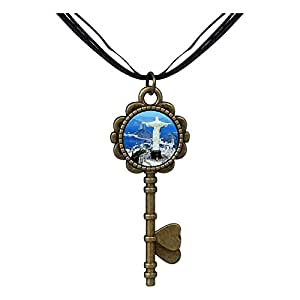 Chicforest Bronze Retro Style Travel Statue Of Christ The Redeemer Key to Her Heart Pendant