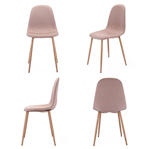 LAZYMOON Set of 4 Dining Side Chairs Eames Style Chair Strong Wood Legs Fabric Living Room Chiar Sets, Khaki Brown