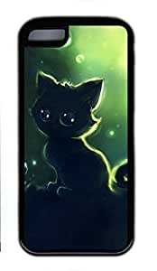 Soft Case Shell for iPhone 5C Covered with Black Kitty Cat,Customized Black TPU Cover Skin for iPhone 5C