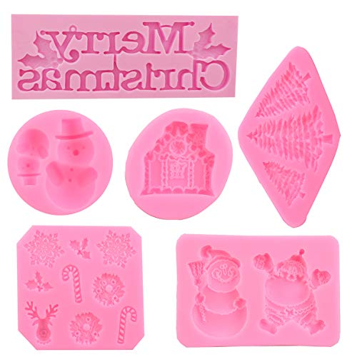 Set of 6 Christmas 3D Pink Silicone Baking Molds for Fondant Snowflakes Raindeer Santa Claus Xmas Tree House Snowman Cake Molds Decorating Supplies Kit with Food Pen (Christmas theme 2) ()