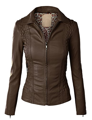 LL Womens Faux Leather zip Up moto Jacket L COFFEE