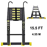 Handvoll Telescoping Ladder 15.5ft Aluminum Extension Folding Ladder, Portable Heavy Duty Multi-Purpose Telescopic Ladder with Slip-Proof Feet(Black) ...