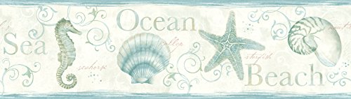 Chesapeake DLR53562B Island Bay Teal Seashells Wallpaper Border
