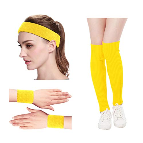 KIMBERLY S KNIT Women 80s Neon Pink Running Headband Wristbands Leg Warmers Set (Free, Yellow)]()