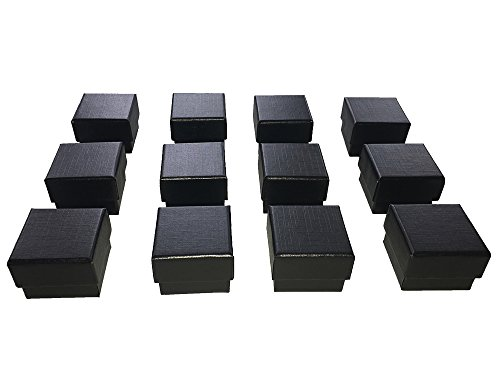 Black Velvet Jewelry Gift Box (Black Ring Gift Box with Foam and Velvet Insert Wholesale Pack of (12))