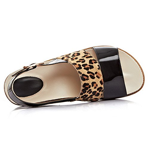 Allhqfashion Kvinners Runde Tå Ku Lær Faste Sandaler Med Metall Ornament Og Leopard Mønster Svart