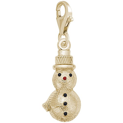 14K Yellow Gold Snowman Charm With Lobster Claw Clasp, Charms for Bracelets and Necklaces (Gold Snowman Yellow 14k)