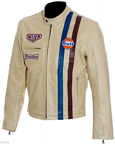 Men's Steve McQueen Le Mans Gulf Racing Style Stripes Leather Jacket (Cream - Steve McQueen Le Mans Leather Jacket, X-Small/Body Chest 36