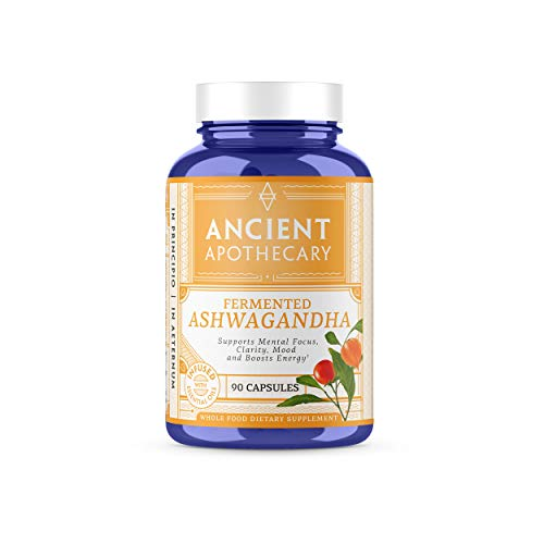 Ancient Apothecary Fermented Ashwagandha Supplement, 90 Capsules - Infused with Organic Essential Oils, Ashwagandha Extract and Digestive Bitters