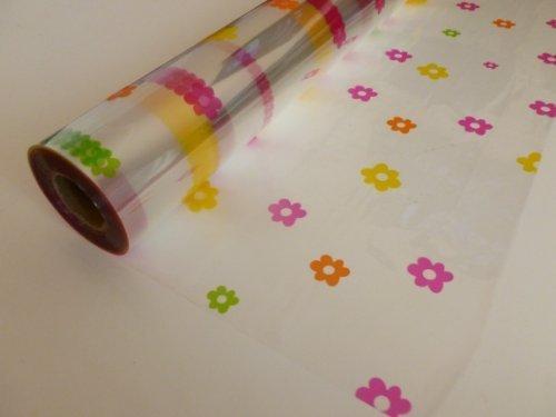 20m x 80cm Roll Multi Coloured Daisy Cellophane Wrap. Florist Quality Bouquet / Gift / ... by Cellophane Wrap