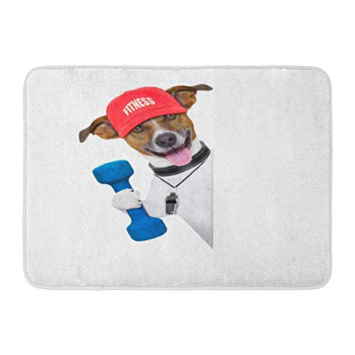 (qingqing-us Bath Mat Funny Fitness Personal Trainer Dog with Dumbbell and Gym Workout Bathroom Decor Rug 15.7