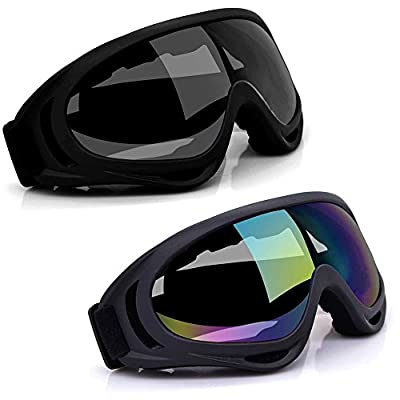 Freehawk Ski Goggles, 2Pcs Snowboarding Goggles Skate Glasses Anti-wind Ski Glasses Motorcycle Goggles Riding Goggles Eyewear for Adult Skiing, Skating, Motorcycling and Riding