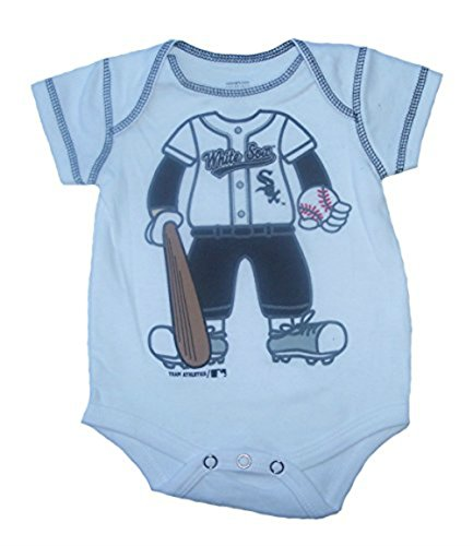 Chicago Onesie Sox White (Chicago White Sox Infant Onesie Size 18 Month Baseball Player Bodysuit -White Creeper)