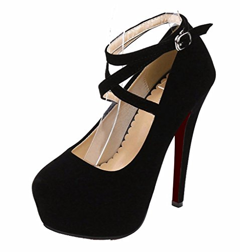 CAMSSOO Women's Pointed Toe Ankle Cross Strappy Platform Stiletto High Heel Pump Dress Shoes Black Suede 7.5 US M