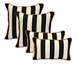 Set of 4 - Indoor / Outdoor 20'' Square & Rectangle / Lumbar Decorative Throw / Toss Pillows - Black and White Stripe w/ Orange Piping / Cording - Zipper Cover & Insert