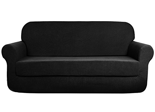- AUJOY Stretch 2-Piece Sofa Covers Water-Repellent Dog Cat Pet Proof Couch Slipcovers Protectors (Sofa, Black)