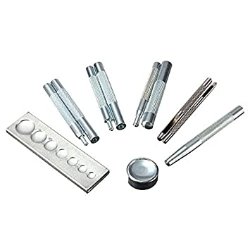 SKYZONAL DIY Leather craft 11pcs Craft Tool Die Punch Snap kit Rivet Setter with Base for Punch Hole and Install Rivet Button