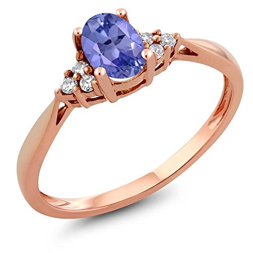 14K Rose Gold Blue Tanzanite And Diamond Women's Ring 0.51 Cttw, Available In Size (5,6,7,8,9)