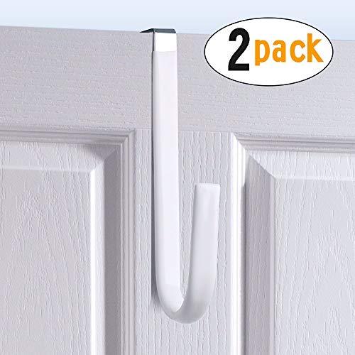 Over the Door Hook White -Surface Rubber Protection Door Paint Design,Single Over Door Hook for Bathroom,Kitchen,Bedroom,Cubicle,Shower Room Hanging Towel,Clothes,Pants,Shoe Bag,Coat (2pack)