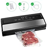 Vacuum Sealer, Food Vacuum Sealing System Automatic Sealers Machine for Dry & Moist Food Preservation with Starter Kit and Sealer Bags Rolls