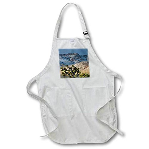3dRose Danita Delimont - Deserts - Usa, California. Death Valley NP. Joshua Trees in the Snow, Lee Flat - BLACK Full Length Apron with Pockets 22w x 30l (apr_258912_4)