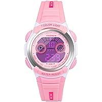 HIwatch Kids Watches Waterproof Toddler Watch Multi Coloured Lights Digital LED Children Wrist Watches Time Teacher Gift for Little Girls, Pink