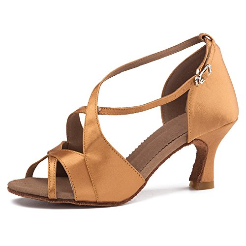 Roymall Femmes Satin Danse Latine Chaussures Salle De Bal Salsa Tango Chaussures De Performance, Modèle B62 7cm Brun