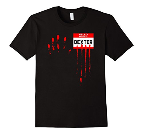 Dexter Halloween Costumes (Mens Hello My Name Is...Dexter Halloween Horror Tshirt 2XL Black)