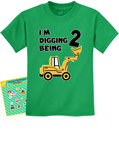 2nd Birthday - Bulldozer Construction Party Toddler Toddler/Infant Kids T-Shirt 2T Green