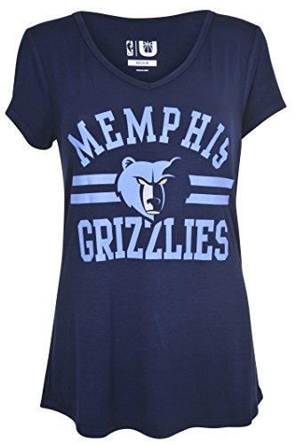 UNK NBA Women's Memphis Grizzlies T-Shirt V-Neck Relaxed Fit Short Sleeve Tee Shirt, X-Large, Blue