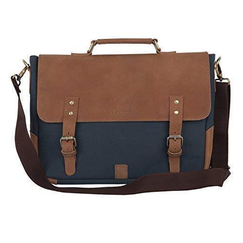 Almolfa Leather Canvas 15  Laptop Messenger Bag  Blue