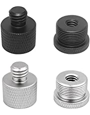 AFUNTA 4 PCS Mic Stand Adapter, 1/4 Female to 5/8 Male and 5/8 Female to 3/8 Male Screw Thread Adapter Set for Microphone Stand Mount to Camera Tripod Adapter